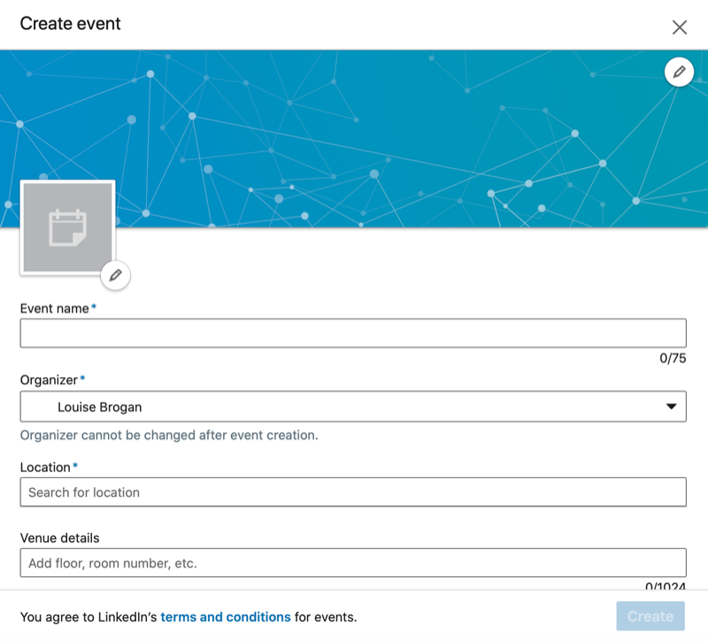 LinkedIn Create Event dialog box