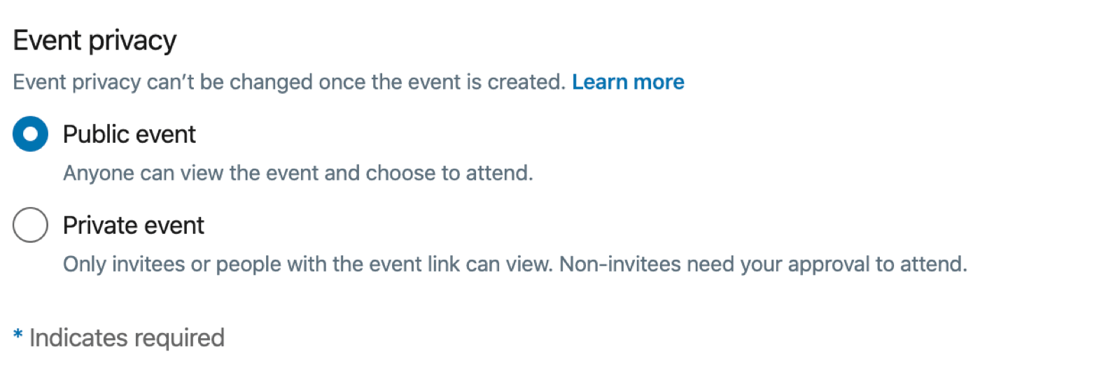 Event Privacy options for LinkedIn event