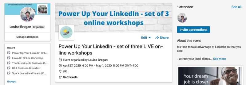 example of LinkedIn event page after clicking Create button