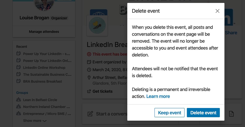 delete LinkedIn event