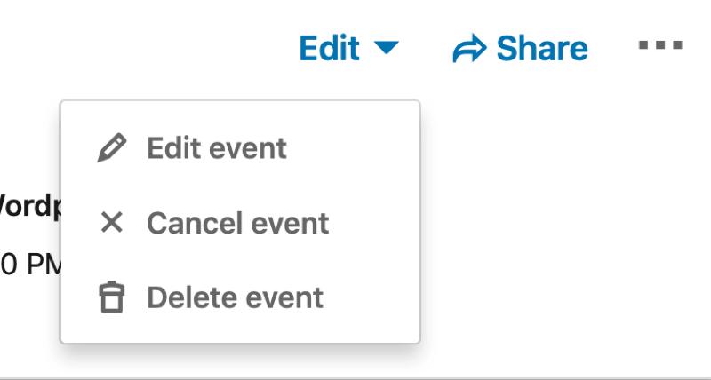 Edit menu options for LinkedIn event