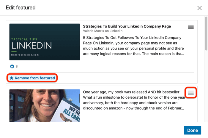 option to remove content from or rearrange content in LinkedIn Featured section