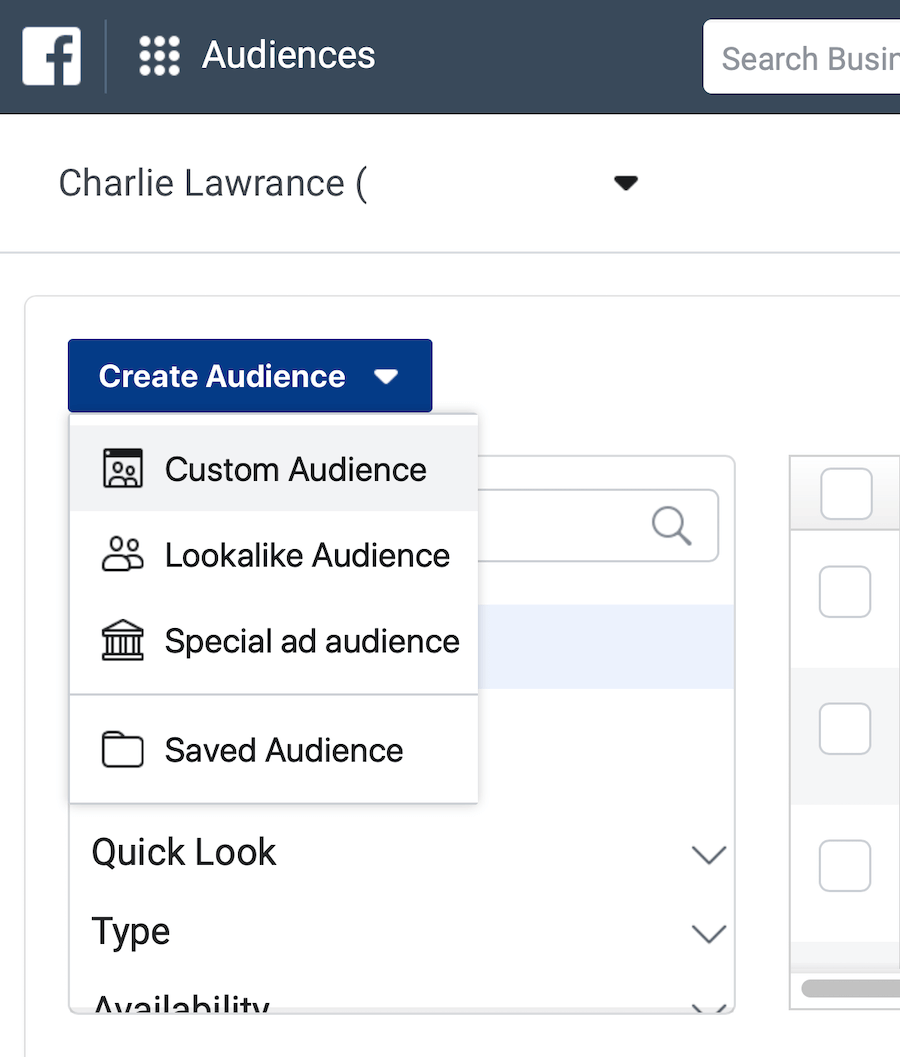 Create Audience drop-down menu in Audiences section of Facebook Ads Manager
