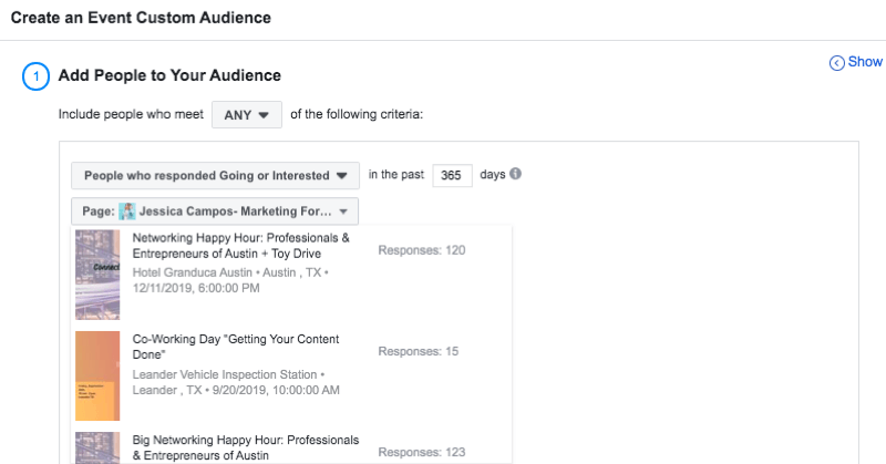 set up Facebook custom audience of people who responded to event