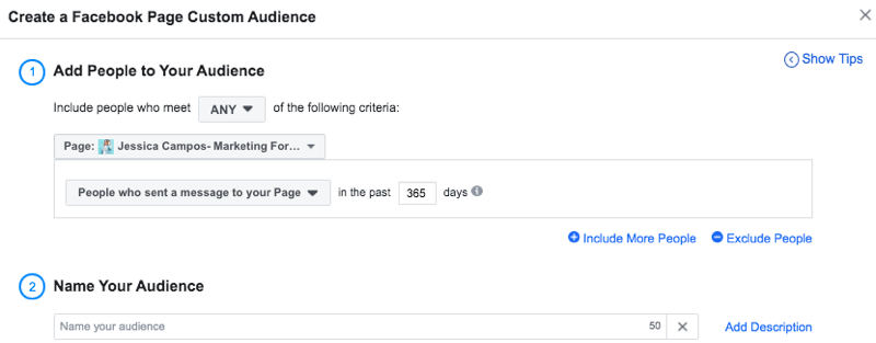 set up Facebook custom audience of people who messaged page