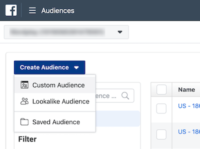 Create Audience drop-down menu in Facebook Ads Manager