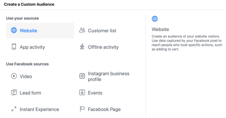 source options for Facebook custom audience