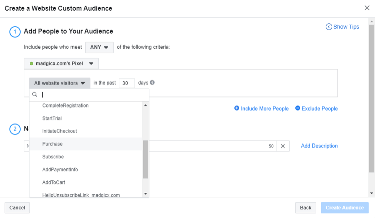 select event for Facebook website custom audience
