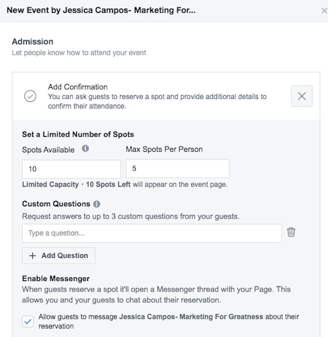 Enable Messenger option for Facebook event