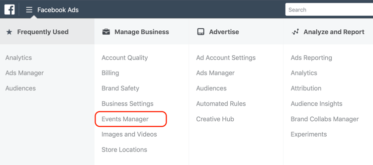 Events Manager menu option in Ads Manager