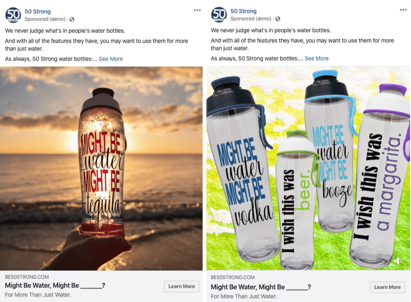 two Facebook ads with different images to test with Facebook experiments