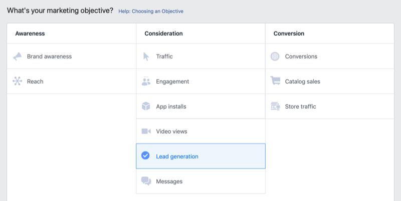 Facebook潜在客户生成目标