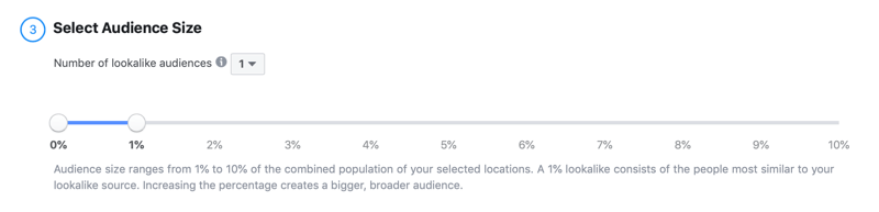 select audience size for Facebook lookalike