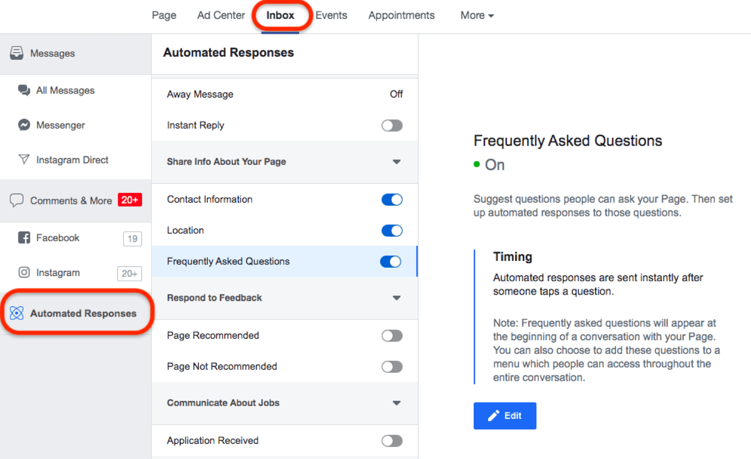 screenshot of Automated Responses section in Facebook Inbox