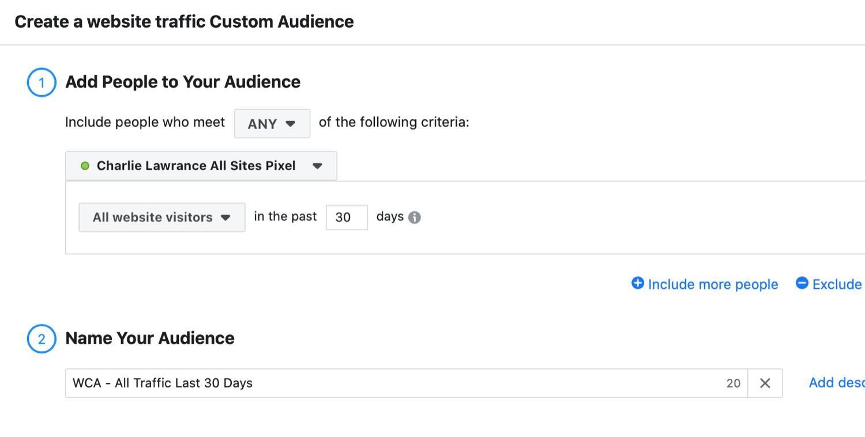 Create a Website Traffic Custom Audience dialog box