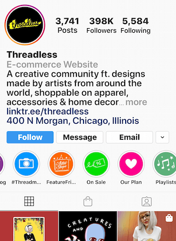 example of Instagram Stories highlight for sale-related posts