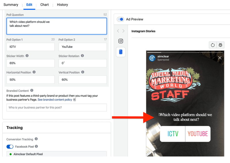 fields to set up Instagram Stories ad poll in Ads Manager
