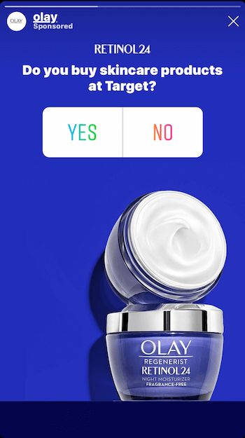 example of Instagram Stories ad with poll