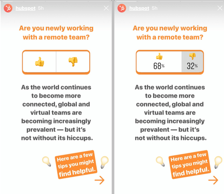 example of Instagram Stories post with poll sticker