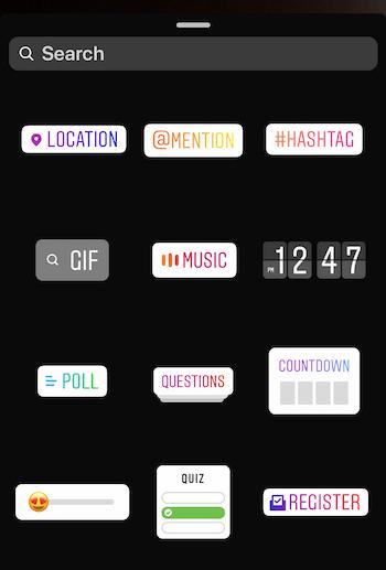 Instagram Stories sticker tray