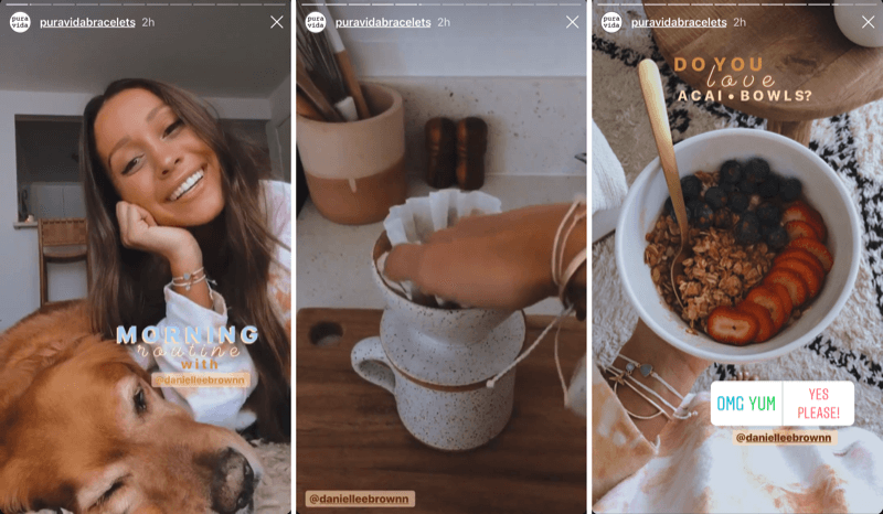 example of an Instagram story takeover by influencer