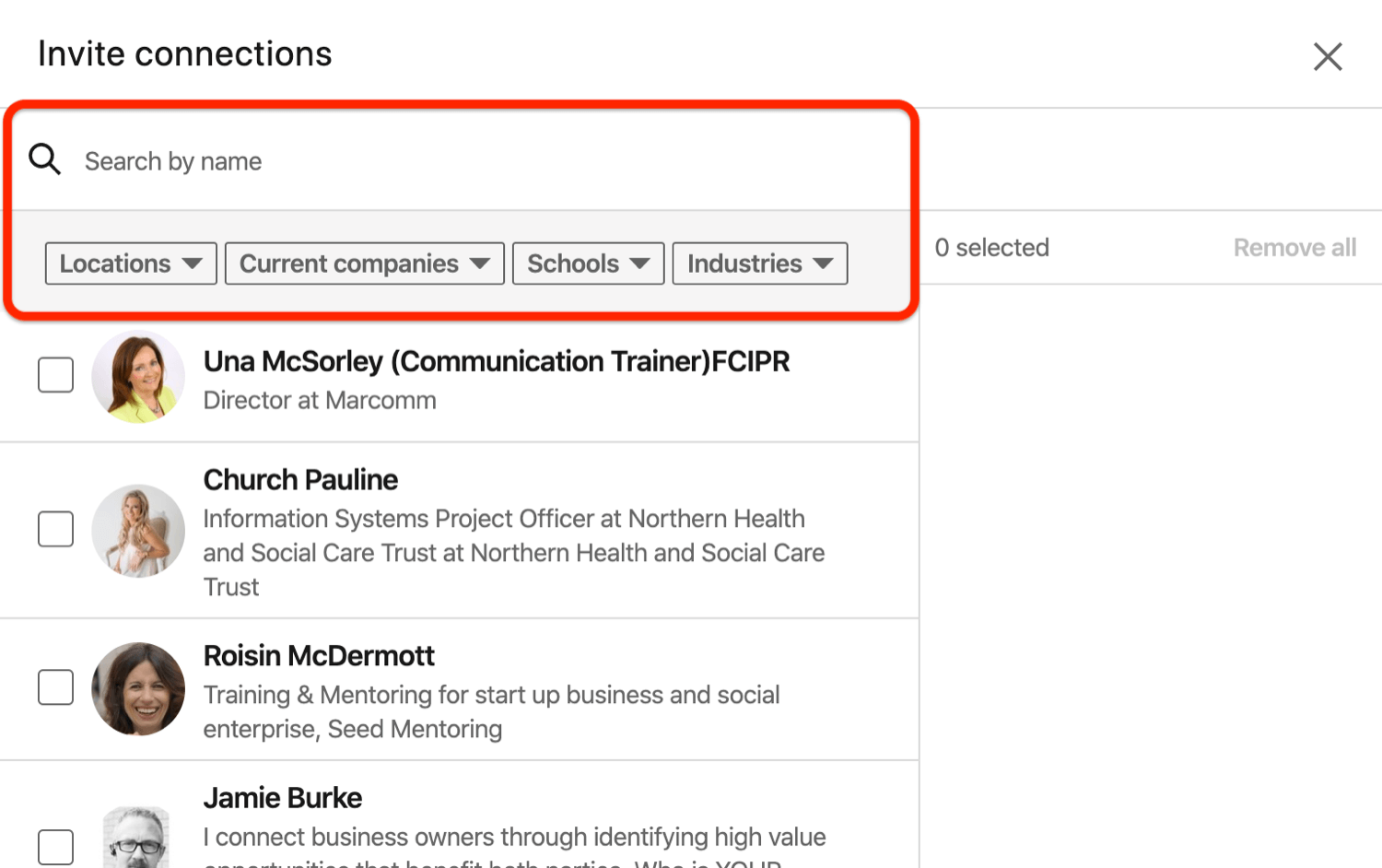 Invite Connections dialog box for LinkedIn event
