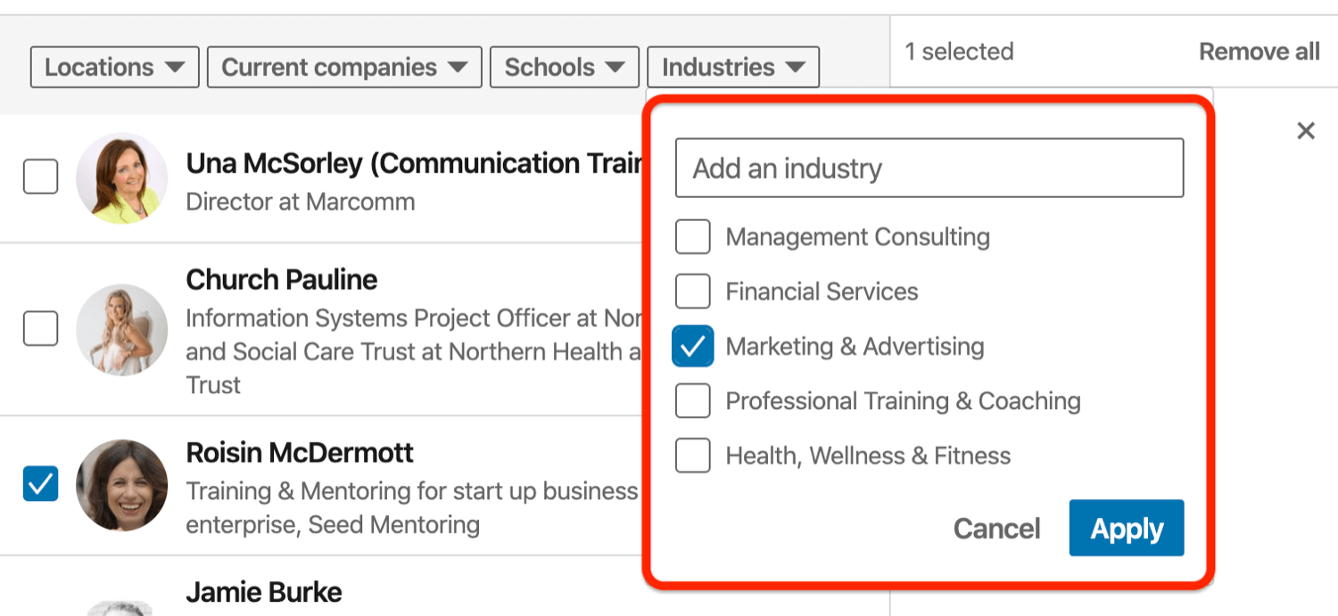 sort connections by industry in Invite Connections dialog box for LinkedIn event