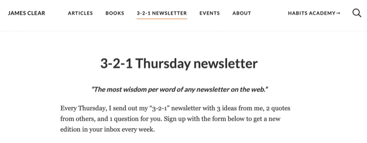 James Clear 3-2-1 newsletter page on website