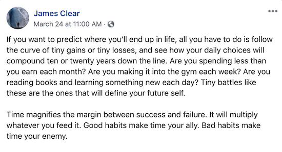 James Clear Facebook post about how tiny gains and losses add up over time