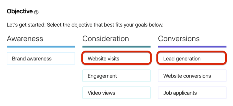 screenshot of campaign objectives for LinkedIn conversation ads