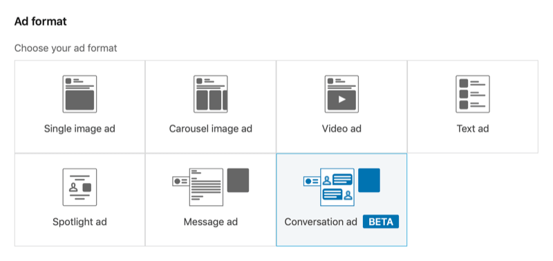 screenshot of LinkedIn Campaign Manager with the conversation ad format selected