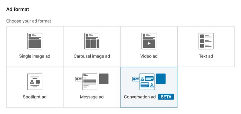 screenshot van LinkedIn Campaign Manager met de geselecteerde conversatie-advertentie-indeling