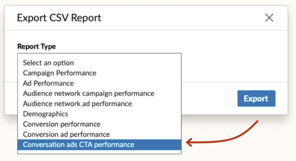 LinkedIn Conversation Ads CTA Performance option in Report Type drop-down list