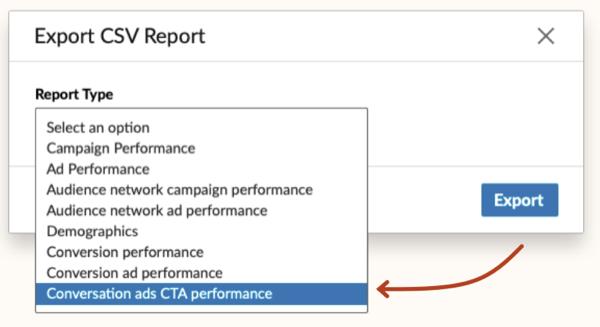 Optie voor CTA-prestaties van LinkedIn-gespreksadvertenties in de vervolgkeuzelijst Rapporttype