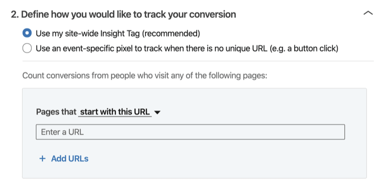 Define How You Would Like to to Track Your Conversion' section of LinkedIn conversation tracking setup process