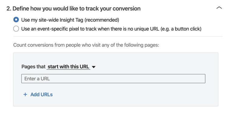 Bepaal hoe u uw conversie wilt bijhouden 'van het LinkedIn-configuratieproces voor het bijhouden van conversaties