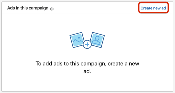 Create New Ad option for LinkedIn conversation ad setup
