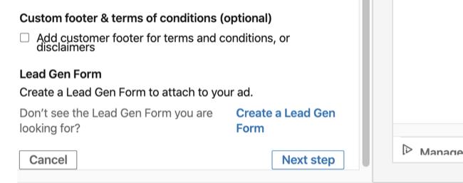 Lead Gen Form option in Basic Info section of LinkedIn conversation ad setup