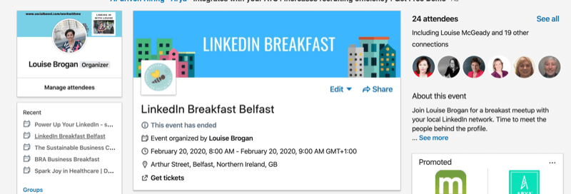 example of LinkedIn Events page for in-person event