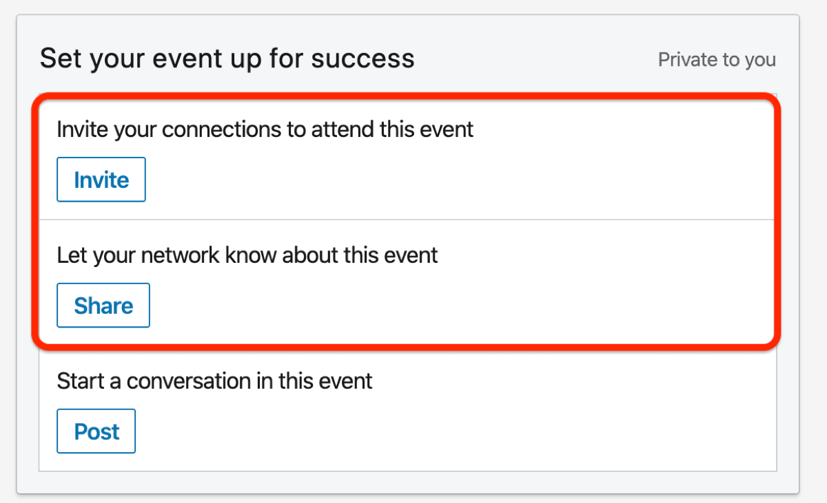 Set Your Event Up for Success section of LinkedIn event