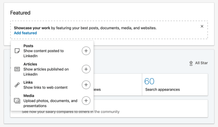 options for adding content to LinkedIn Featured section