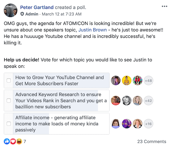example of pop-up Facebook group post with poll