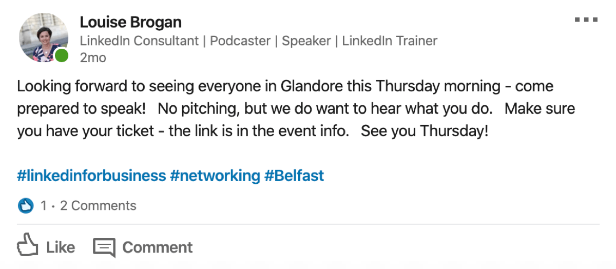 example of organizer post to LinkedIn event