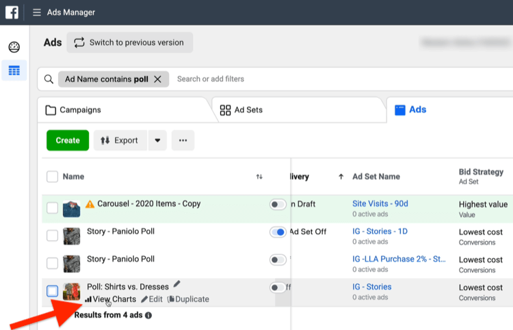 View Charts option in Ads Manager