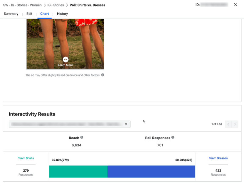 Interactivity Results for Instagram Stories ad with poll