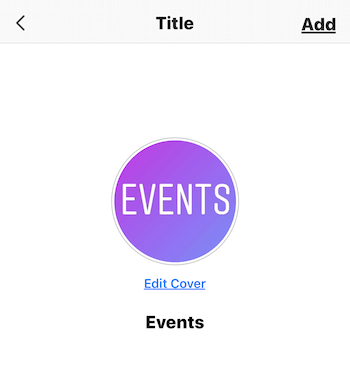 screen for selecting Instagram Stories highlight cover
