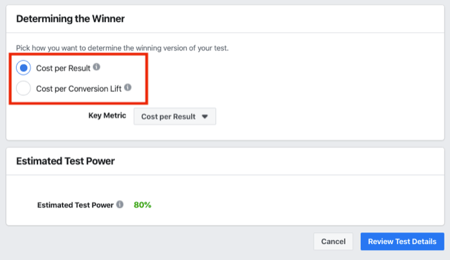 Determining the Winner section of A/B test for Facebook Experiments