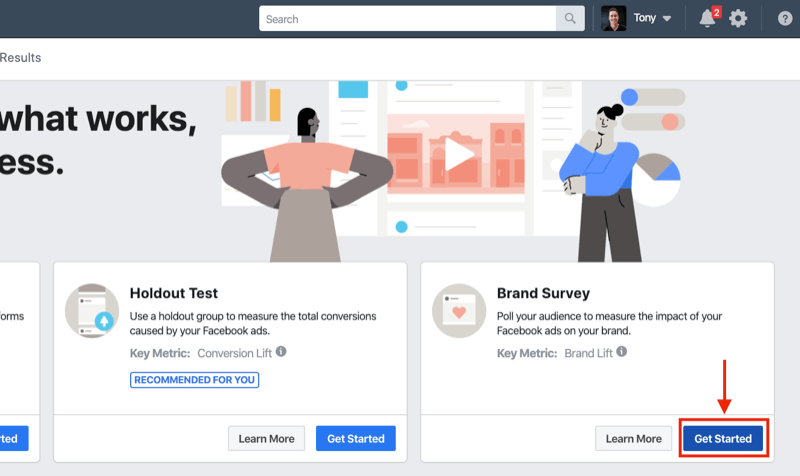 Get Started button for Brand Survey for Facebook Experiments