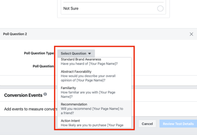 poll question types for brand survey for Facebook Experiments