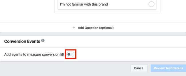 conversion events for brand survey for Facebook Experiments